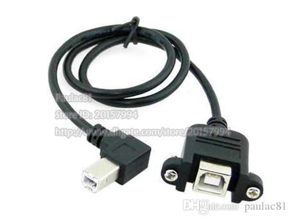 1 M Longueur 90 Degrés USB B Mâle à Femelle Extension Câble W / Vis Pour Panneau Montage / Livraison Gratuite / 2 PCS