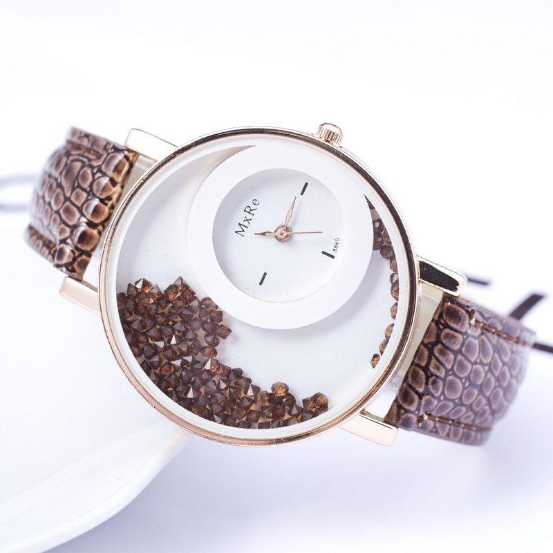 Cheap New Fashion Leather Strap Women Rhinestone Wrist Watch ...