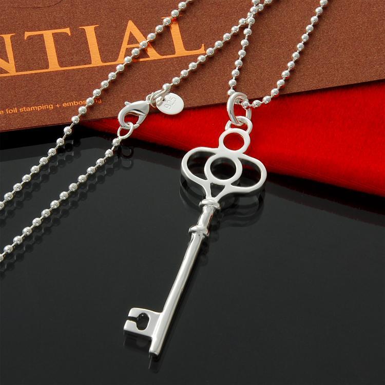 al por mayor 925 granos de plata de ley-joyería directos de fábrica corona grande clave hombres collar de plata joyas collares regalo de Navidad