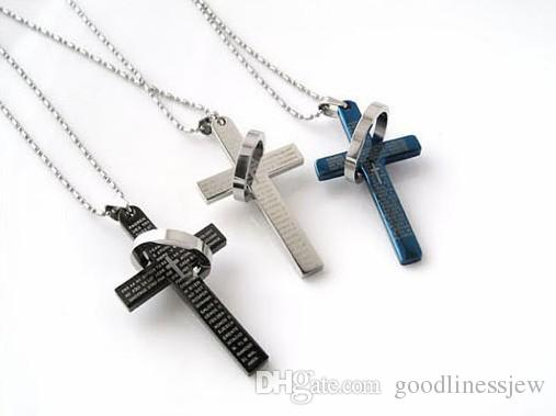 Men's Stainless Steel Necklace Statement Necklaces The Bible Cross Ring Ring Necklace, Titanium Steel, Man Lovers Cross Necklaces