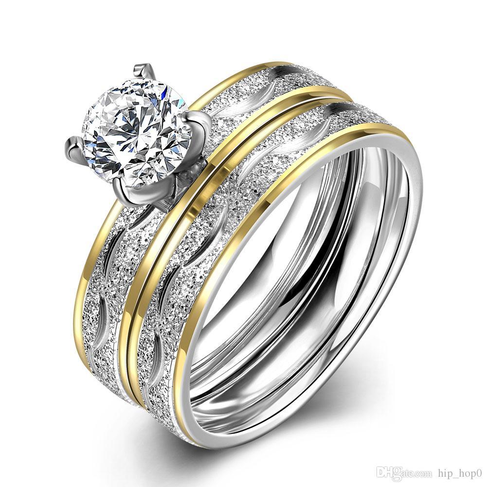 2017 316l Titanium Steel Ring Stainless Steel Couple Rings Zircon ...