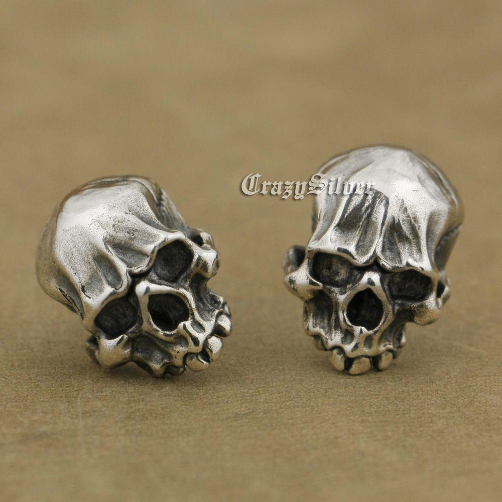 a59499c7c LINSION 925 Sterling Silver Mens Biker Rock Punk Skull Stud Earrings TA40