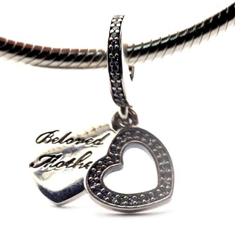 """Coeur Balancent Clair CZ Gravure """"Mère Bien-aimée"""" 100% Argent Sterling Perles Fit Pandora Charmes Bracelet Authentique Bijoux De Mode De Bricolage"""
