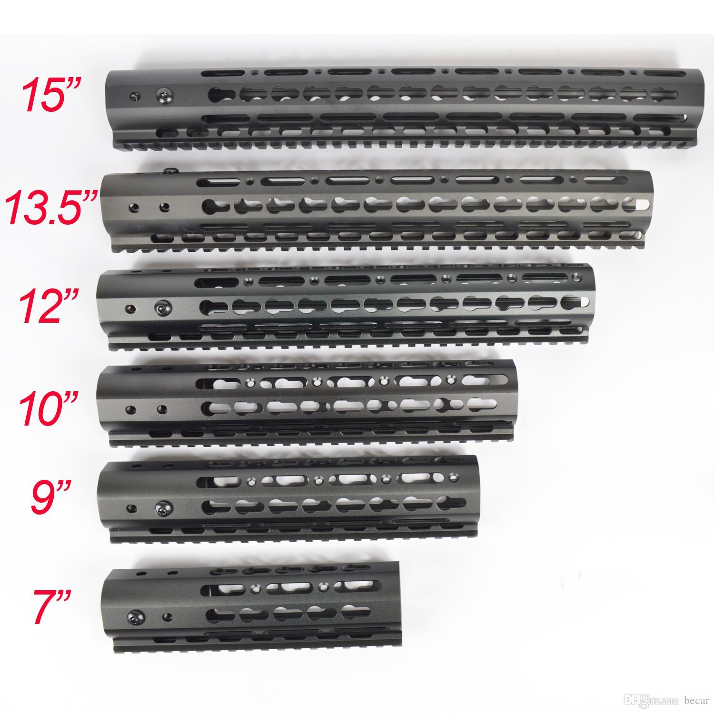 9분의 7 / 12분의 10 / 13.5 / 15 인치 초경량 KeyMod 무료 플로트 총열 덮개 Monothilic 상단 레일 스틸 배럴 너트 Fit.223 / 5.56
