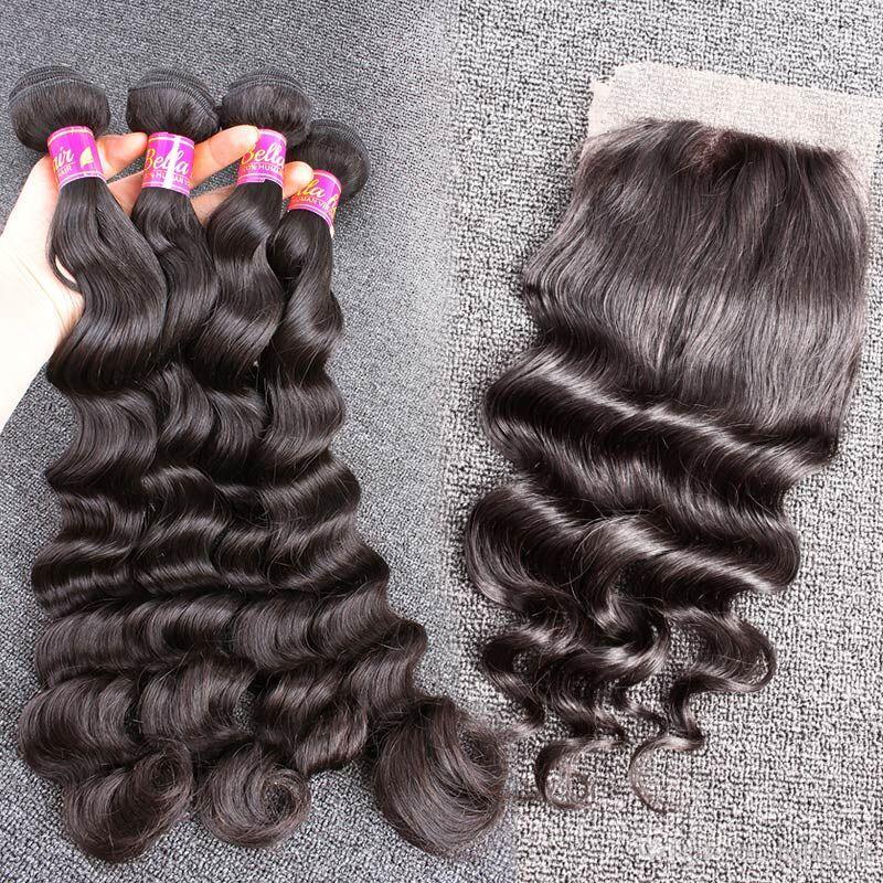 4pcs bundle hair with closure