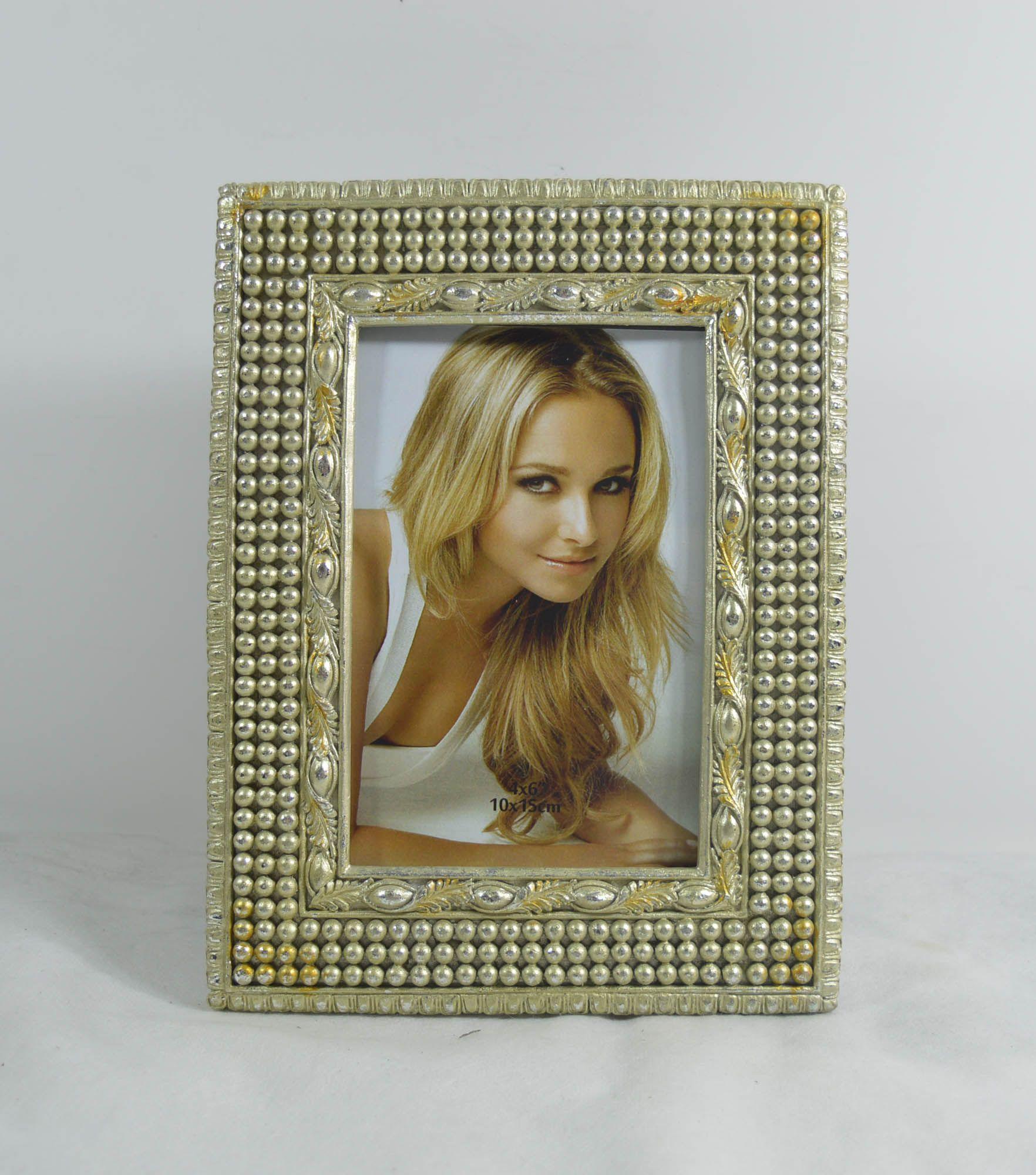 """4x6 """"및 5x7""""Mahal 그림 액자 직사각형 디자인을 가진 구슬로 황금 창조적 인 수지 사진 구조"""