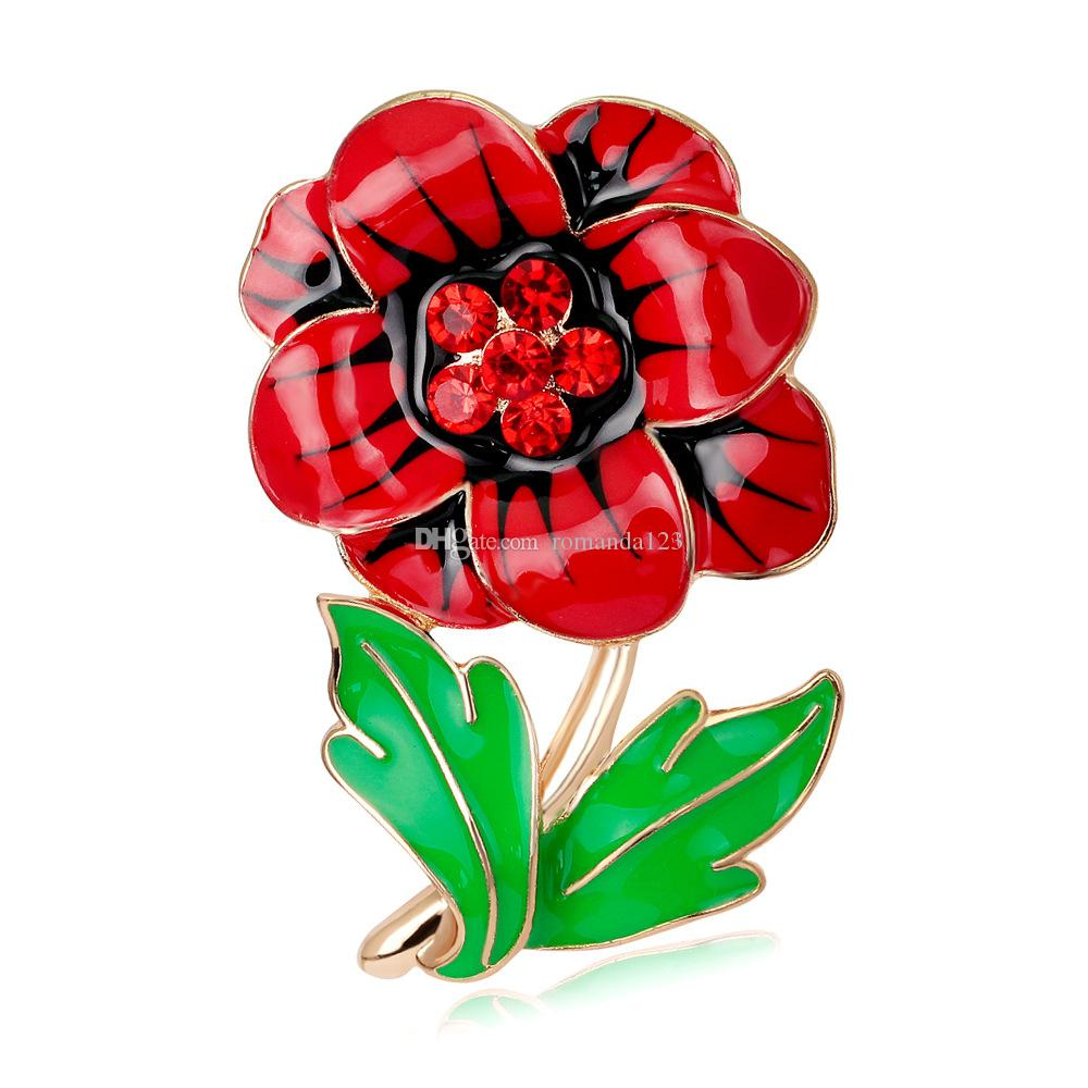 Red Enamel Rhinestone Gold Tone British Poppy Brooch Flower Pin with Green Leaf Remebrance Day Souvenir New Arrival 2016 DHL free shipping
