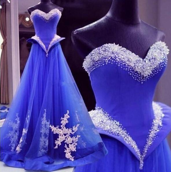 Royal Blue Long Evening Dresses Tulle Peplum Elegant Beading Sequins Floor Length A Line Lace Appliques 2019 Vestidos De Festa Ribbon.
