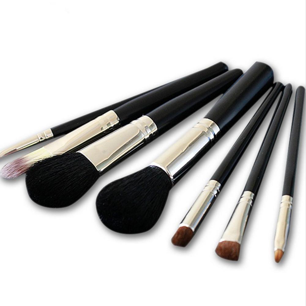 7 Ручка для макияжа Высококачественная шерстяная щетка Черная молния Pu Bag Tools Кисти для макияжа