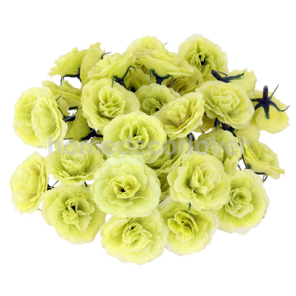 50pcs Artificial Silk Rose Flower Heads Bulk Wedding Party Decor Pink White