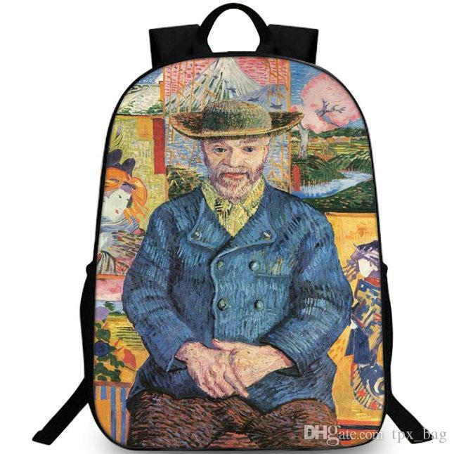 Портрет Папаши Танги рюкзак Ван Гога рюкзака Картина Schoolbag ДОСУГ рюкзака Спортивная школа сумка Открытый день пакет