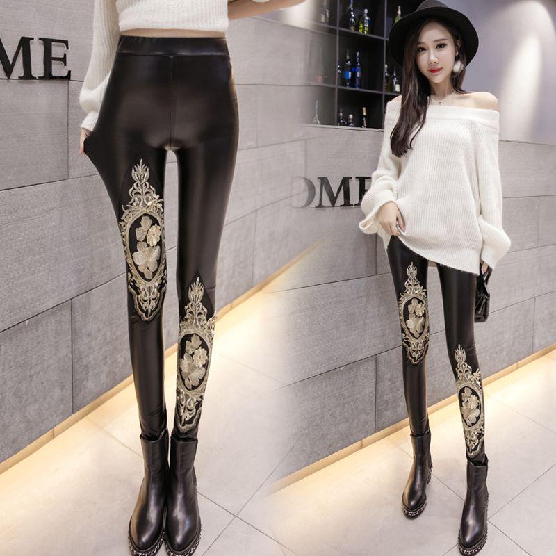 Avrupa Moda Yeni Tasarım kadın Seksi Bodon PU Deri Nakış Altın Dantel Çiçek Tunik Tozluk Pantolon Artı Boyutu SMLXLXL