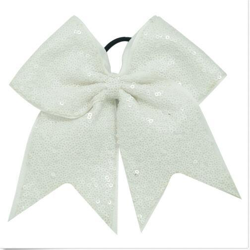 """15% korting! 12 kleuren 7 """"Groot gejuich bogen voor meisjes glanzende sequin juichen boog met elastische band shimmery sequin cheerleading bow haarbanden 18 stks /"""