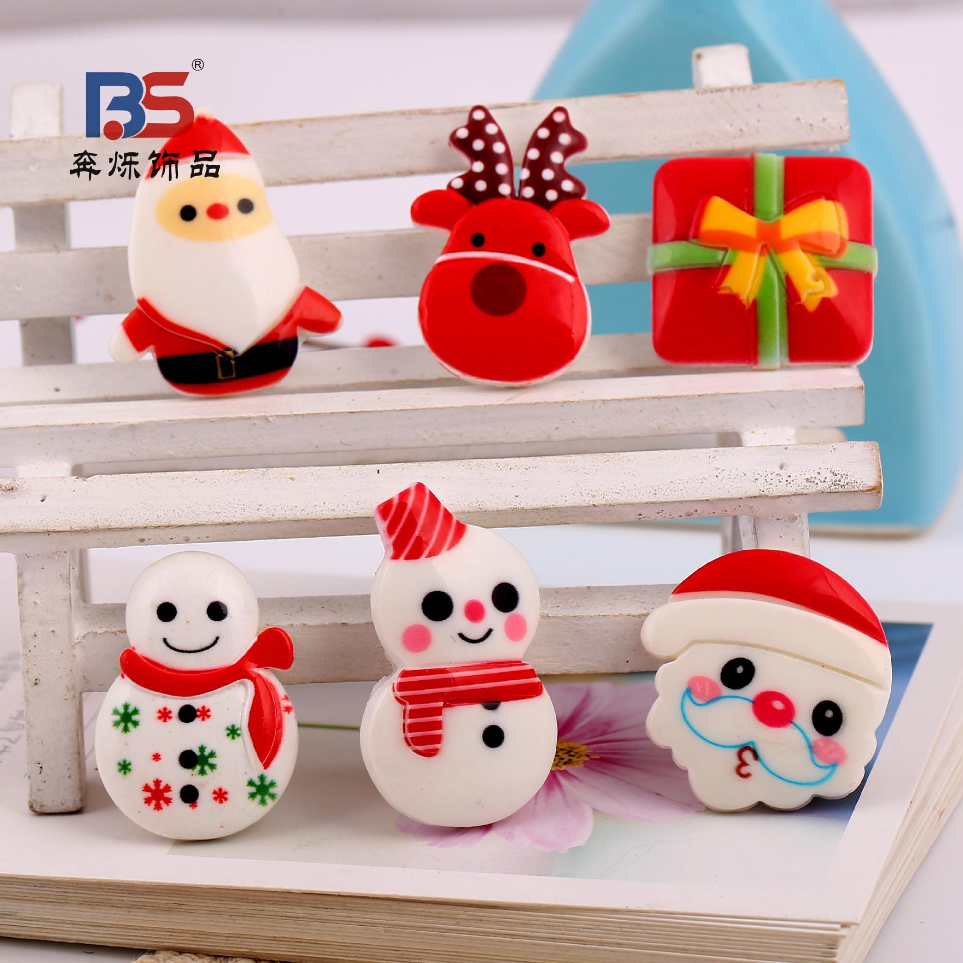 Accessori in resina serie Babbo Natale fatti a mano FAI DA TE Capelli Barrette Capelli corda