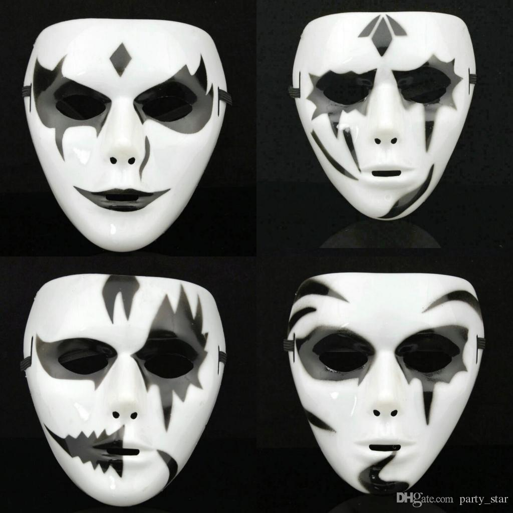 Men White Black Hip-hop Mask Halloween Party Full Face Mask Bar Club Dance performance Show Mask