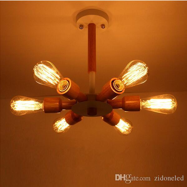 Europe du Nord led lustre en bois de la lampe en bois allume 3/6 têtes luminaire suspendu luminaire restaurant éclairage lamparas