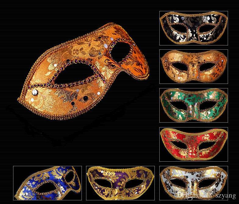 Free send DHL - Half Face Mask Halloween Masquerade mask male, Venice, Italy, flathead lace bright cloth masks