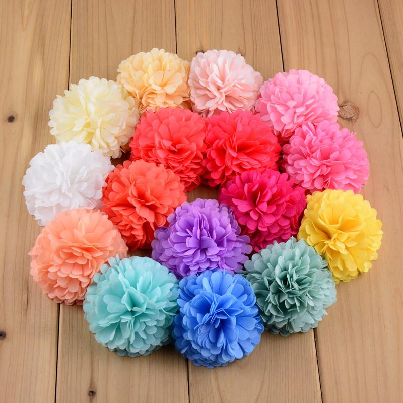 """2.5"""" sopro tecido rodada chiffon flores pétalas de acessório de cabelo sapatos de bebê, 24pcs broche de flor / lote Frete Grátis 40 cores em estoque"""
