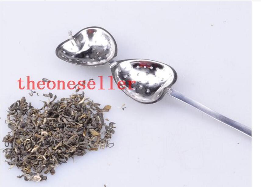 1000 BBA4651 en forme de coeur infuseur de thé maille boule inox filtre à base de plantes à infusion thé infuseur cuillère filtre en forme de coeur cuillère cadeau de noël