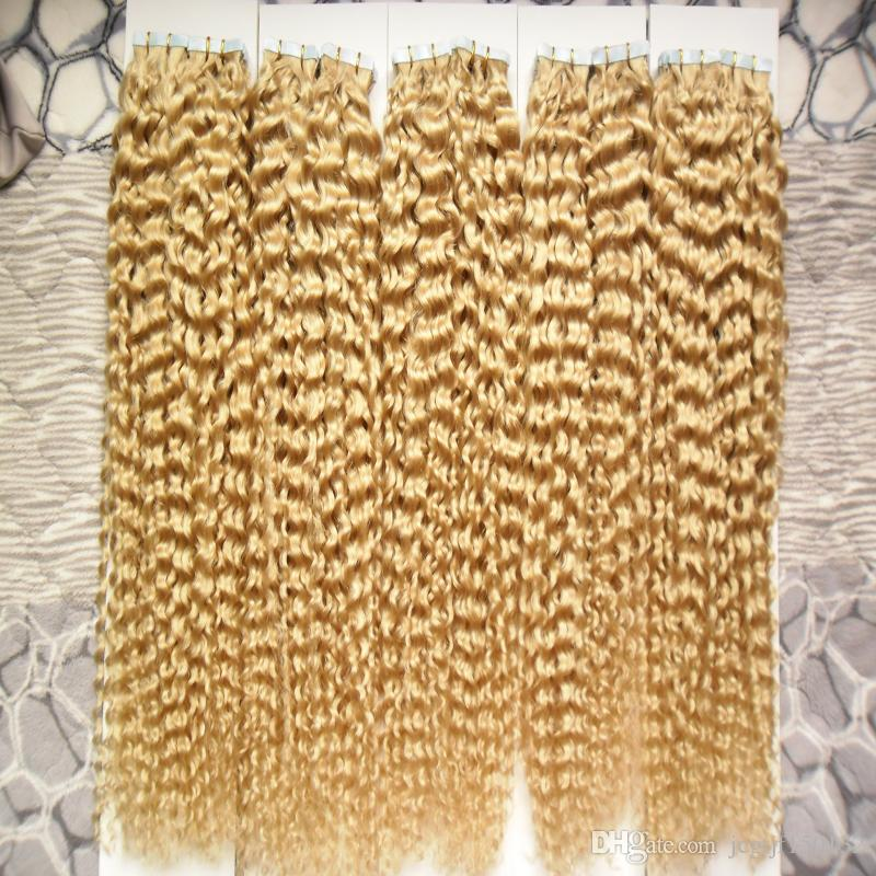 Color 613 Bleach Blonde Brazilian Hair 500g Apply Tape Adhesive Skin Weft Hair 200pcs Brazilian Kinky Curly Tape In Human Hair Extensions