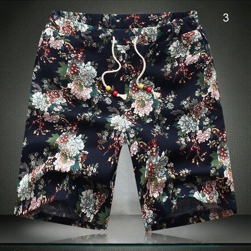 Atacado-verão Men `s de linho de algodão misturado Shorts Floral impresso cordão Plus Size Oversized 6XL Shorts de praia para homens grandes e altos