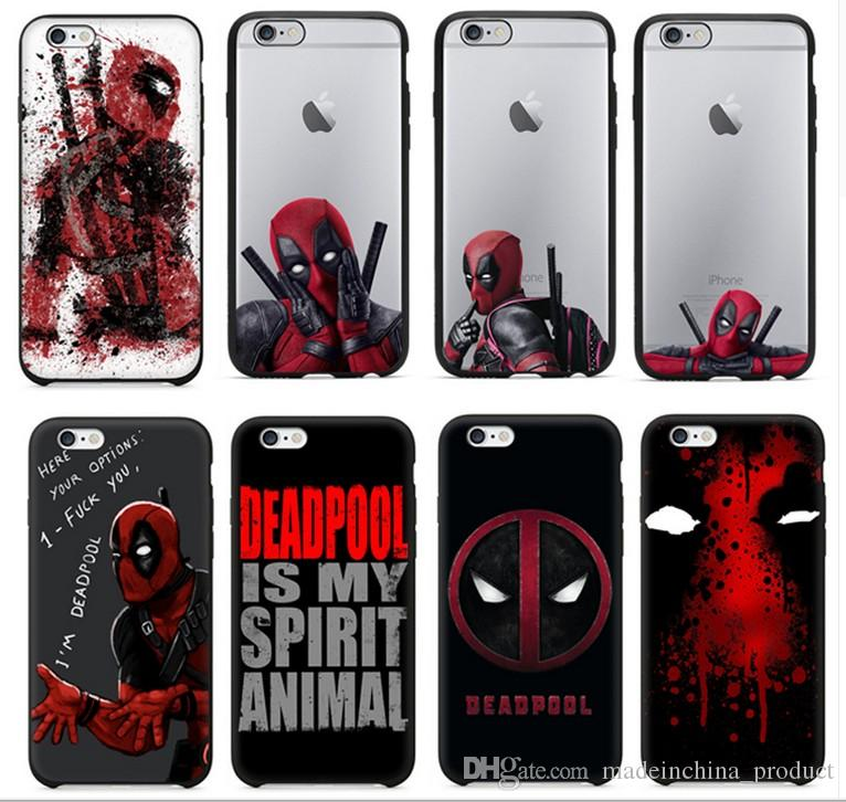 competitive price d0bd0 64489 3D Super Cool Marvel Hero Deadpool Coque Fundas Black Soft Silicone Case  For IPhone 7 7plus 6 6S 6Plus SE Cover Case Clear Cell Phone Cases  Protective ...