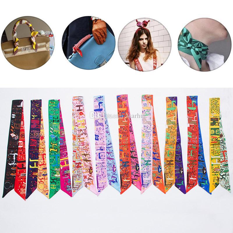 Women Scarf Printed Handbag Silk Ribbon Wraps Bandanas Bow Hair Bands Decoration 10 Style In Stock WX-C70