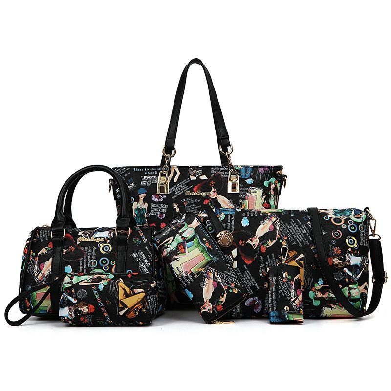 2016 новый 6 шт. весь набор сумки женщины сумки сумка crossbody сумки кошельки кошелек винтаж стиль искусственная кожа