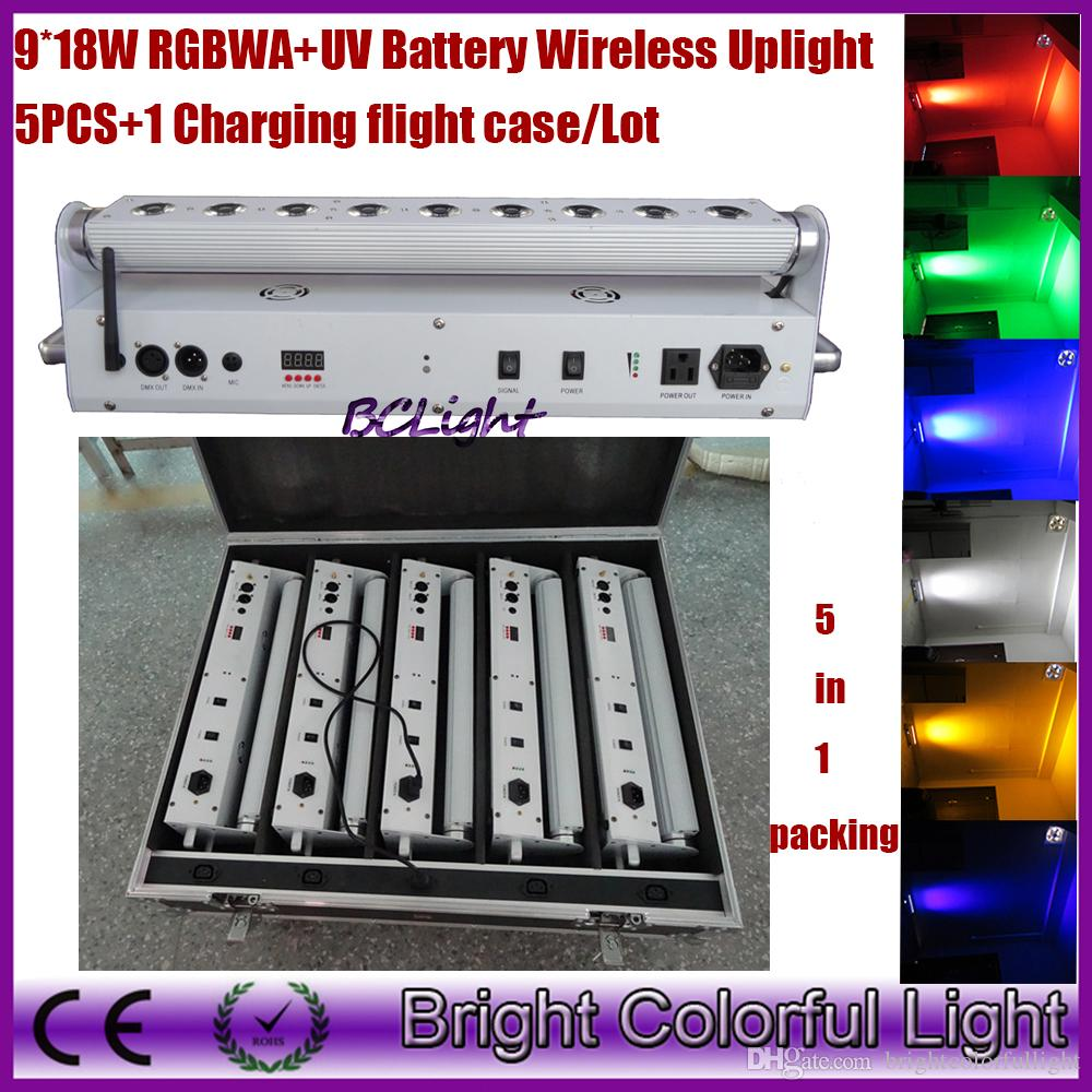 (5 lights+1 fly case/lot) RGBWAUV 6 IN 1 Wedding decor led up lights/wireless dmx led wall washer/led stage lights wireless