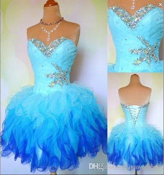 2019 A-Line Sweetheart Mini / Corto vestito senza maniche con strass Crystal Perline Tiered Ruffles Homecoming / Prom / Cockatail Abito in magazzino