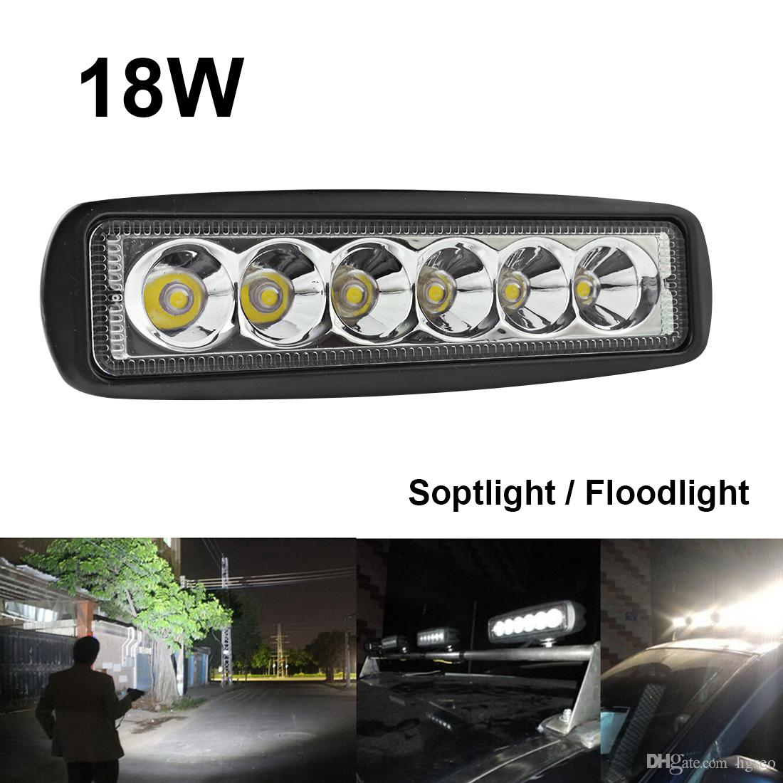 4PCS 1550LM 6 Inch 18W 6 LED Work Light Bar Flood Driving Off Road 4WD Jeep Boat