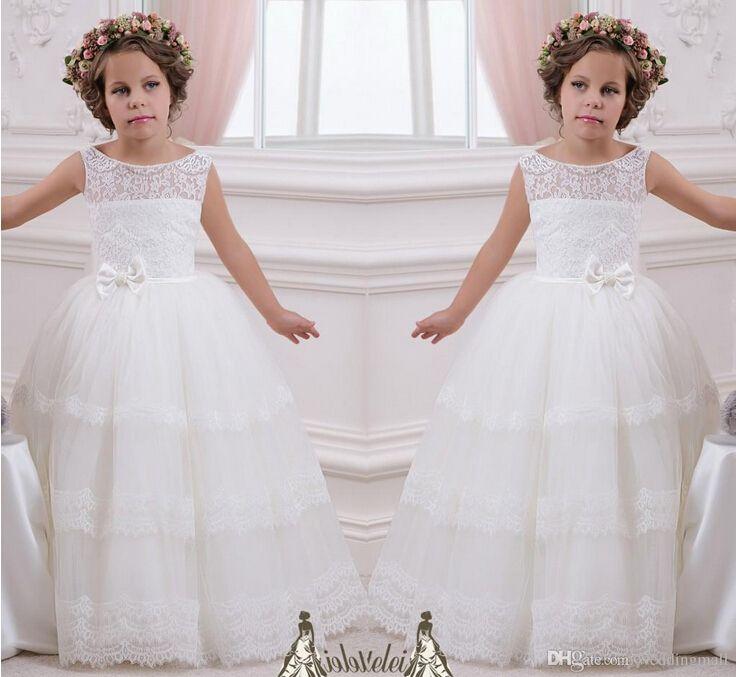 2019 Schärpe Spitze Perlen Ballkleid Blumenmädchenkleider Vintage Kind Festzug Kleider Heilige Kommunion Blumenmädchen Brautkleider