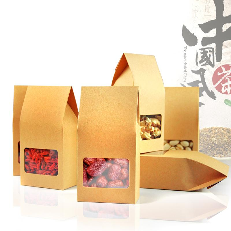 50pcs/Lot 8cm*15.5cm+5cm*140Mciron Kraft Paper Stand Up With Window Bags Candy Packaging Box