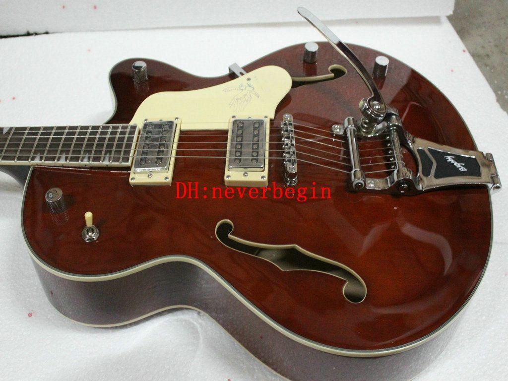 Nuovo arrivo marrone Hollow jazz chitarra elettrica 6120 Jazz Guitar OEM strumenti musicali CALDO