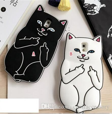 3D Ripndipp Pocket Cat Cartoon Soft Silicone Case For Samsung Galaxy S4 S5 S6 S7 EDGE A5 E5 J1 ACE J2 NOTE 4 5 Middle Finger Capa Skin Cover
