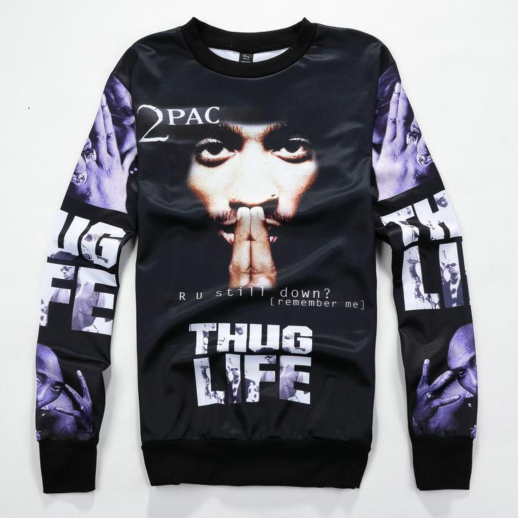 3D moletom com capuz ocasional 2pac Hiphop Hiphop Pullover do artista
