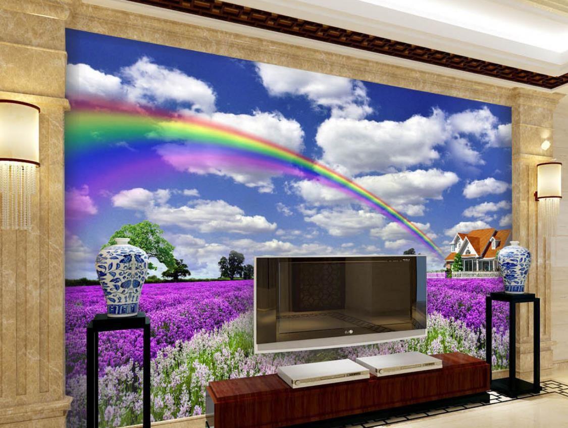 Home Decor Пользовательские 3D Mural Обои лаванда голубое небо и белые облака 3D Гостиная ТВ Backdrop Спальня Papel де Parede