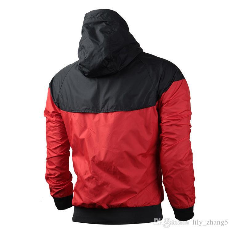 Herbst- dünne windrunner Männer Frauen Sportbekleidung hochwertige wasserdichte Stoff Männer Sportjacke Mode Zipper Hoodie Kostenloser Versand