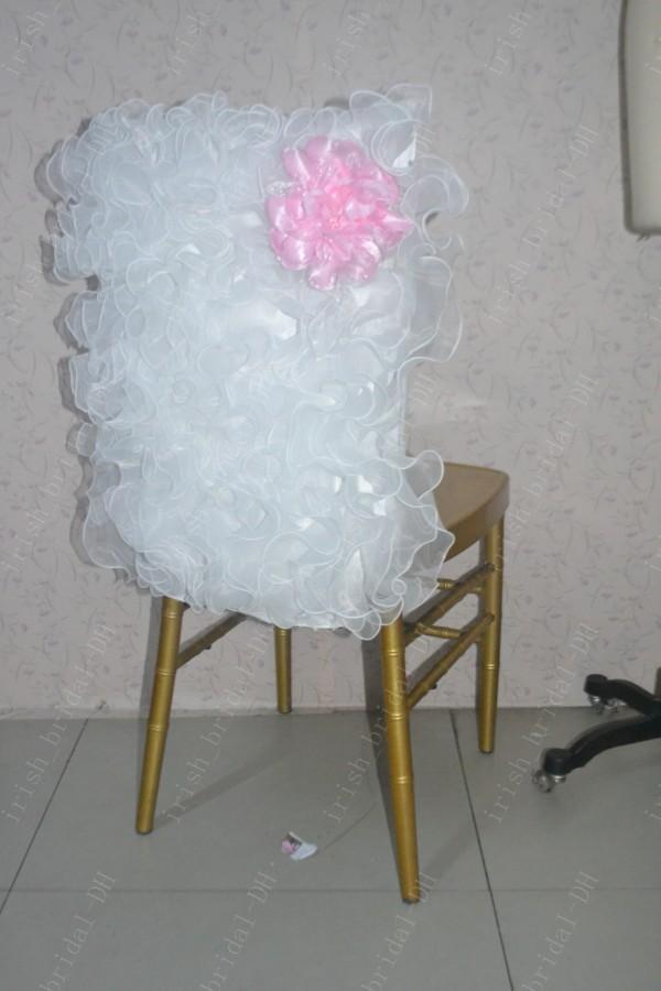 2016 Custom Made 3D Flower Chair Covers Romantic Beautiful Organza Ruffles Chair Sashes Cheap Wedding Chair Decorations 013