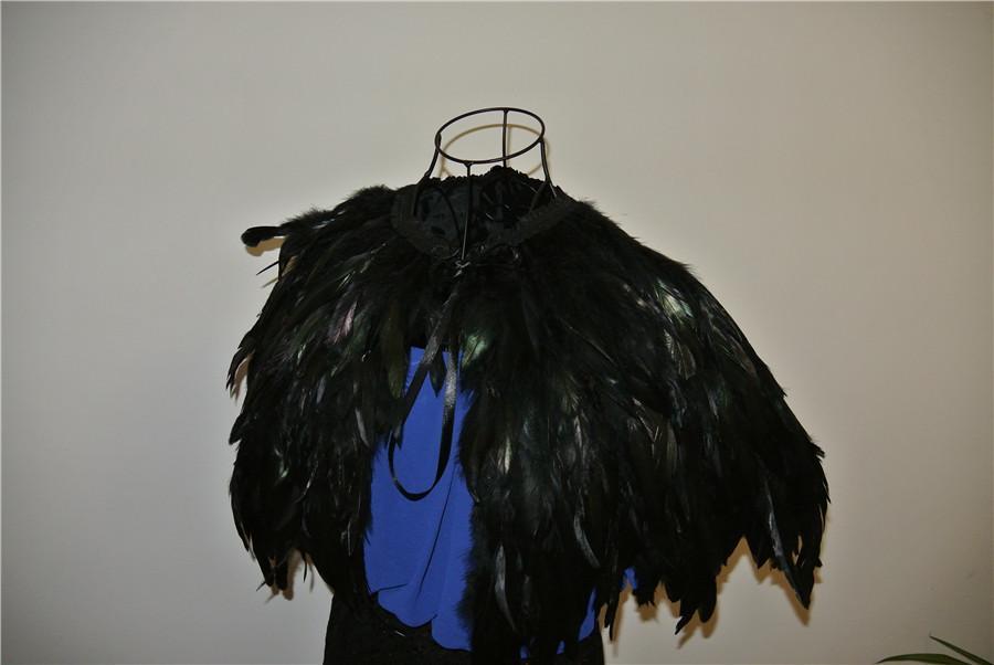 5 strati di piume nere Collar Shrug Cape scialle di piume piuma shrug cape piuma piuma di spalla costumi