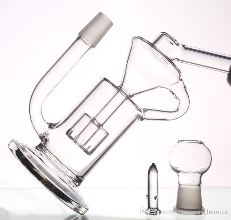 Дешевые портативные стеклянные водопроводные трубы с куполом ногтей ресайклер стеклянные бонги Hoorkahs Сота Spiratual Бонг на складе 22 см высотой 18,8 мм совместных