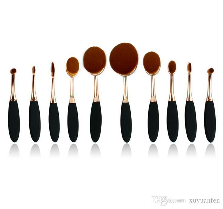 10 Pcs Maquillage Professionnel Pinceaux Or Ovale Maquillage Pinceau Visage Poudre Fondation Cosmétiques Pinceau Outils