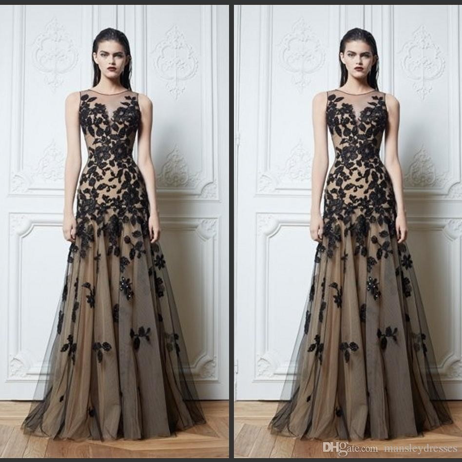 Großhandel Zuhair Murad Haute Couture Appliques Schwarz Abendkleider 12  Lange A Line Ärmeln Applikationen Sheer Vintage Pageant Prom Kleider Von