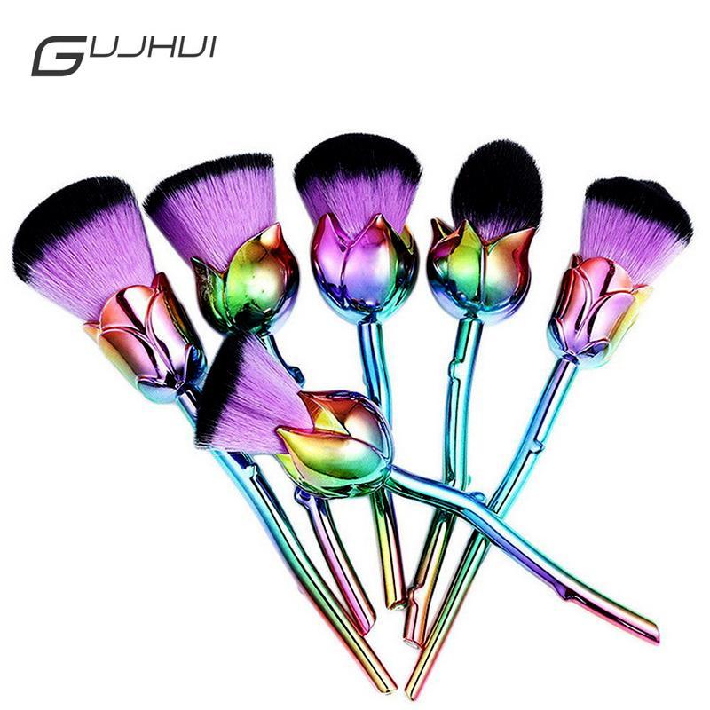 Pennello professionale per trucco rosa 6 pezzi Set per pennelli trucco rosa polvere facile da trucco Trucco Cosmetici