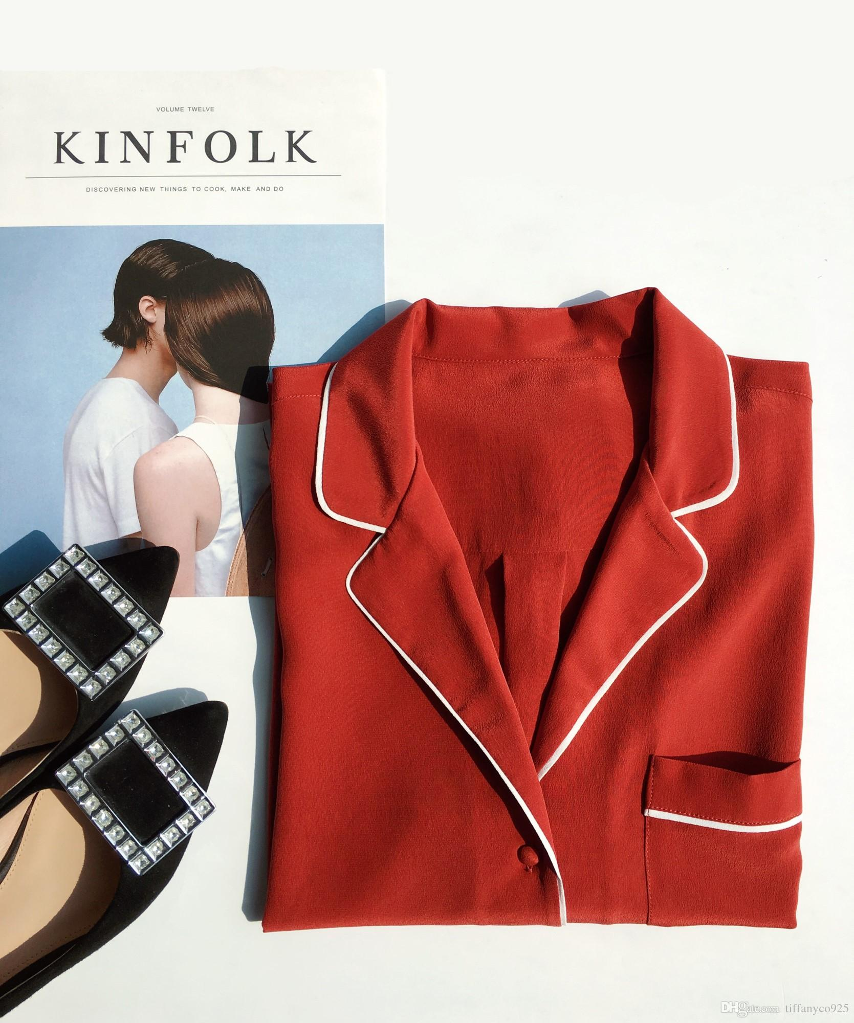 Эксклюзивный эквалайзер 100% реальный шелк дамы чистый цвет красный с длинным рукавом женщины рубашка блузка весна лето