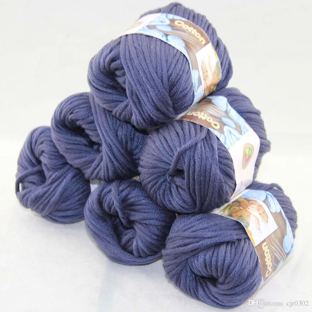 Много 6 BallsX50g специального толстая камвольно 100% хлопок вязание пряжа индиго синий 2229