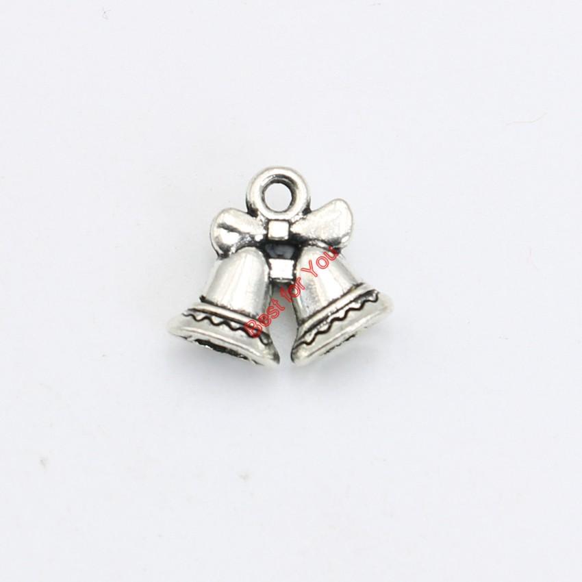 30pcs argento antico placcato campane di natale pendenti di fascini collana di gioielli che fanno accessori fai da te 14x16mm