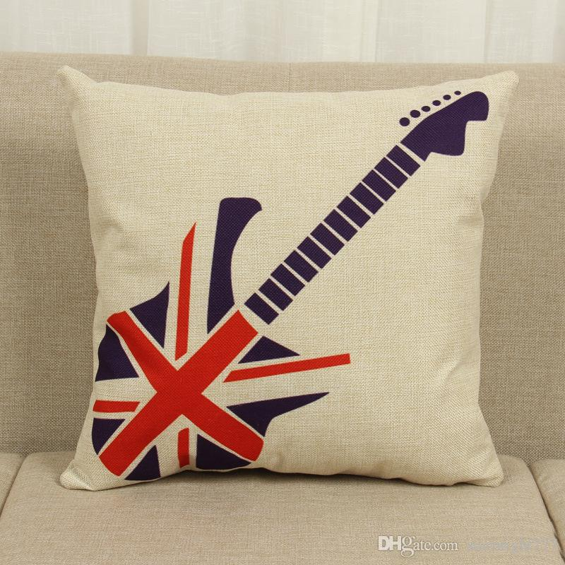 Simple British Style Teddy Bear Pattern Pillowcase London Street View  Pillow Cover Thick Cotton Linen Pillow Case Love London Nautical Pillow  Covers
