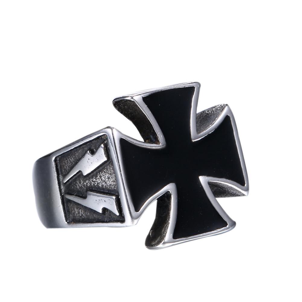 Ring 316L Edelstahl Eisernes Kreuz Iron Cross Biker Gothic Schwarz Black Herren