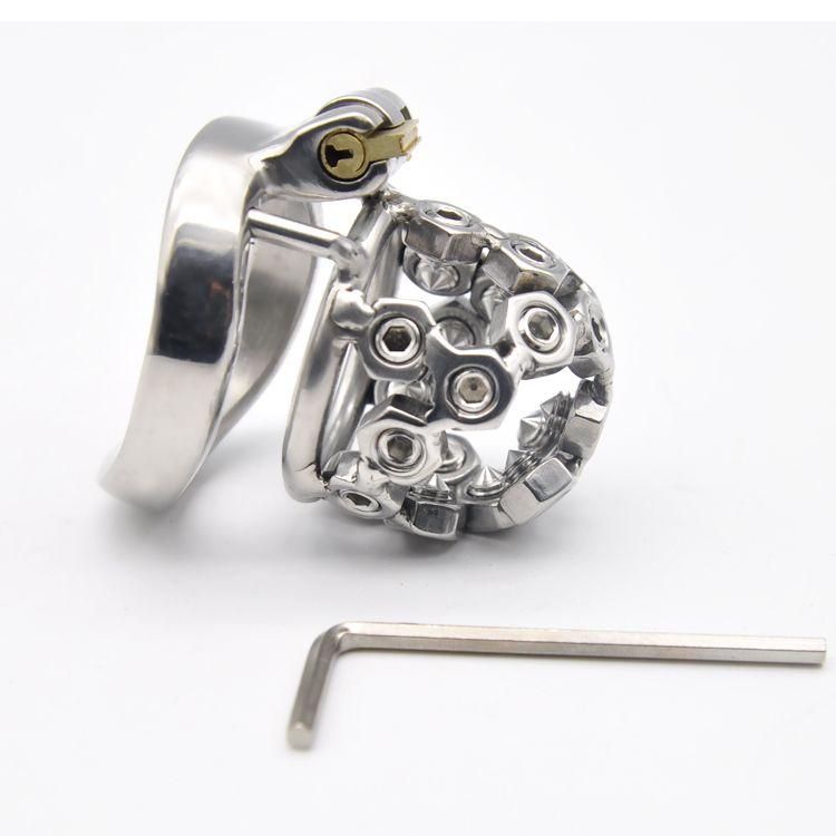 Ultimo disegno Nuova serratura MASCHIO Castità In acciaio inox piccolo gabbia giocattoli del sesso AB031